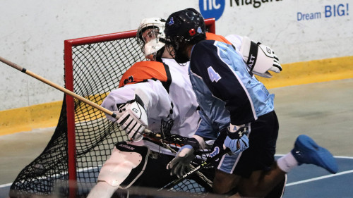 St.Catharines Athletics Player scoring Lacrosse goal