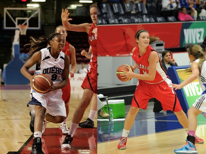 In the left image, Bridget Carleton is holding the basketball close to her hip with both hands during play near the side of the court. In the right image, Nirra Fields is driving the lane with the basketball in front of a couple defenders with their hands