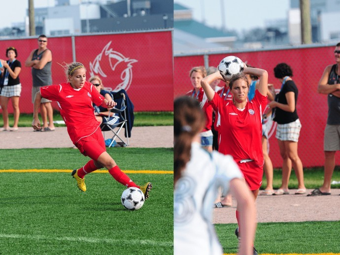 Adriana Leon, on the left, running down the soccer field with the ball at her feet. In a separate photo on the right, Shelina Zadorsky is holding the soccer ball above her head before putting it into play.