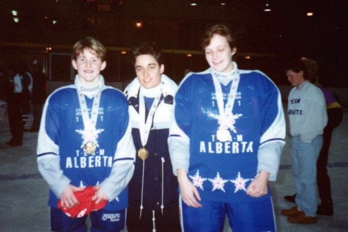Hayley Wickenheiser, Shannon Miller and Valerie Miles at the 1991 Canada Winter Games