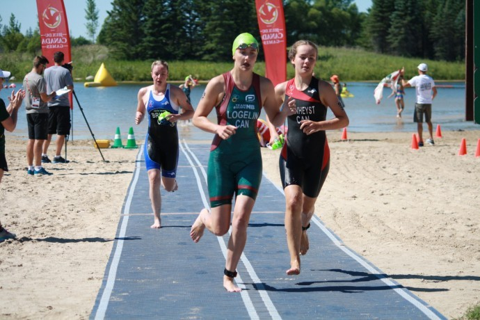 Megan  taking part in the female triathlon relay event during her first-ever Canada Games in Winnipeg, Man.